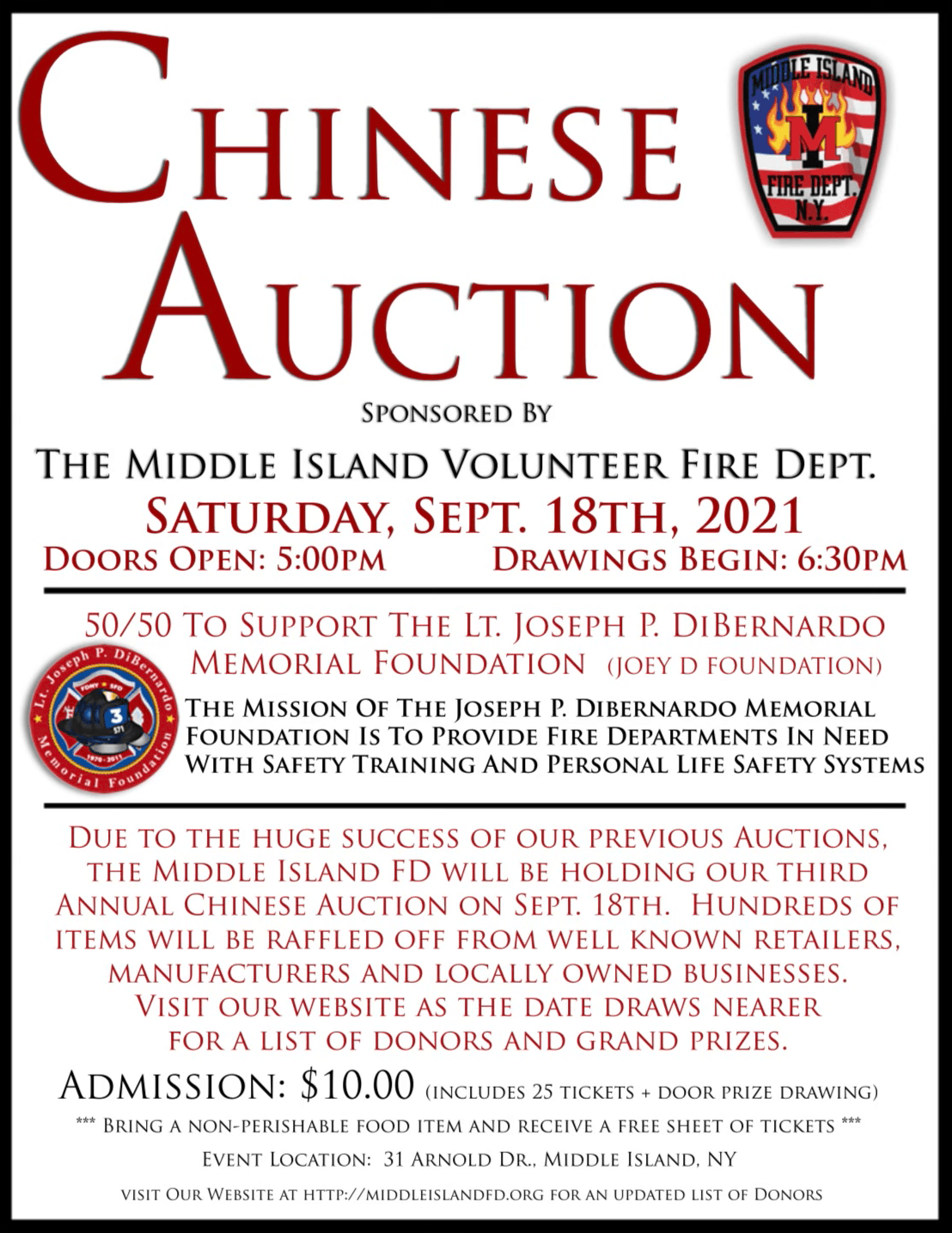 Middle Island Chinese Auction